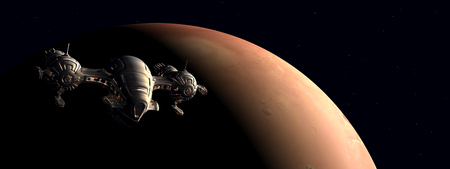 The flight to Mars Stock Photo