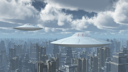 Flying saucers over a big city