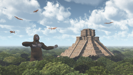 place of worship: Giant Gorilla, Pterodactylus and Mayan Temple