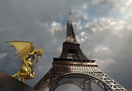 Gargoyle and Eiffel Tower