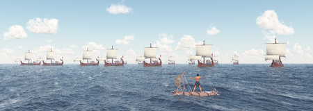 Man on a raft and ancient Roman warships