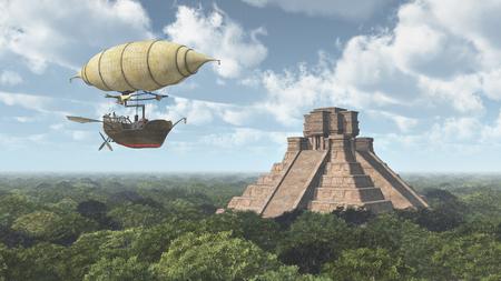 Fantasy airship and Mayan temple