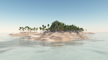 cloudless: Tropical island with palms