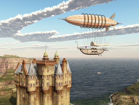 Fantasy airship and Scottish castle