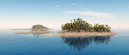 Tropische Insel mit Palmen Standard-Bild - 79543326