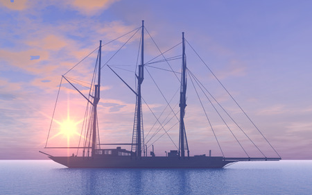 topsail: Gaff schooner at sunset Stock Photo