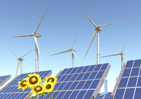cloudless: Wind turbines, solar panels and sunflowers Stock Photo