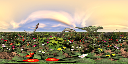 seamless panorama with the dinosaurs, Yangchuanosaurus and Coelophysis Stock Photo