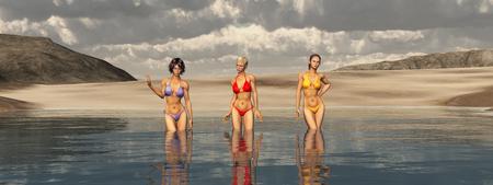 魅力的な女性と海水浴 写真素材