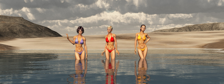 Sea bathing with attractive women