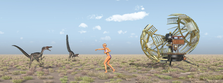 Tijdmachine, vrouwelijke tijdreiziger en dinosaurussen Stockfoto