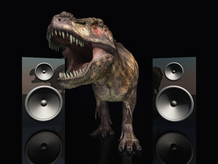 interior decoration: Loudspeaker boxes and Tyrannosaurus Rex