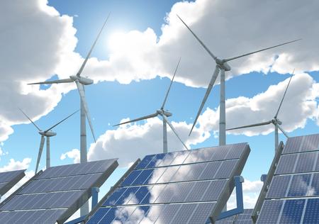 Turbine eoliche e pannelli solari Archivio Fotografico - 84041041