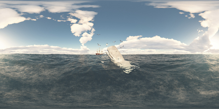 Computer generated 3D illustration with spherical 360 degrees seamless panorama of sperm whale, seabirds and whaling ship Banco de Imagens