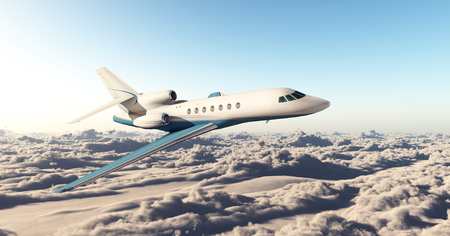 faraway: Business jet over the clouds