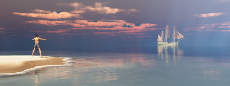 Shipwrecked person and passing sailing ship Stok Fotoğraf