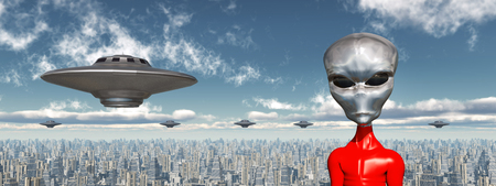 Flying saucers and alien in front of a futuristic city