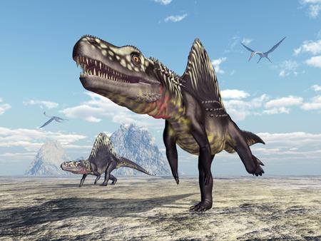 Archosaur Arizonasaurus and pterosaur Quetzalcoatlus