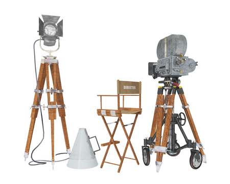 loudspeaker: Vintage movie camera equipment isolated on white background