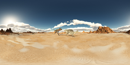 monstrous: Spherical 360 degrees seamless panorama with the dinosaurs Nanotyrannus and Velafrons