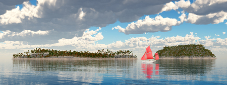 Sailboat and islands Stock Photo
