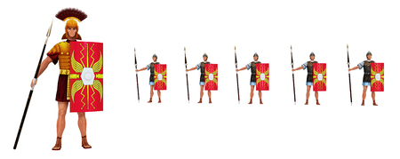 Roman centurion and legionaries isolated on white background Stock Photo