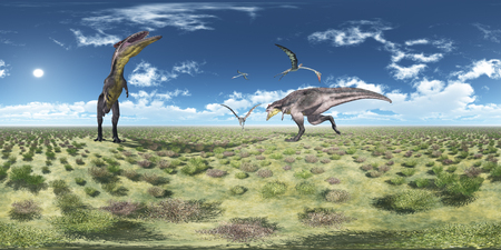 Spherical 360 degrees seamless panorama with Tyrannotitan and Quetzalcoatlus Reklamní fotografie
