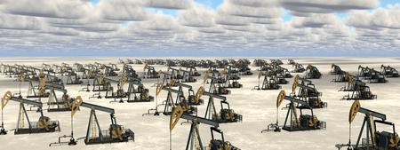 Masses of oil pumps in a landscape