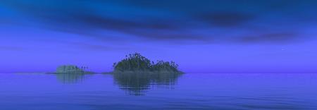 Tropische Insel bei Nacht Standard-Bild - 88360210