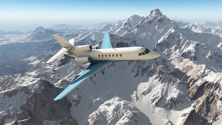 Business jet over the mountains