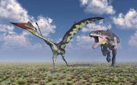 monstrous: Tyrannotitan attacks Quetzalcoatlus