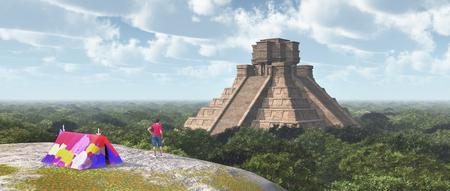 World traveler and Mayan temple