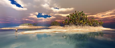 Schiffbrüchige Person auf einer einsamen Insel Standard-Bild - 91510720
