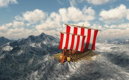 Odysseus and his companions in the stormy sea Foto de archivo
