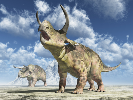 Dinosaurio Nasutoceratops Foto de archivo - 91423057