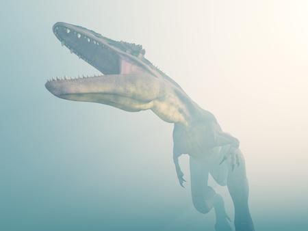 Dinosaur Tyrannotitan in the fog