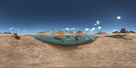 Spherical 360 degrees panorama with the prehistoric crocodile Sarcosuchus Stock Photo