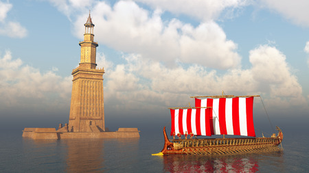 Lighthouse of Alexandria and ancient Greek warship