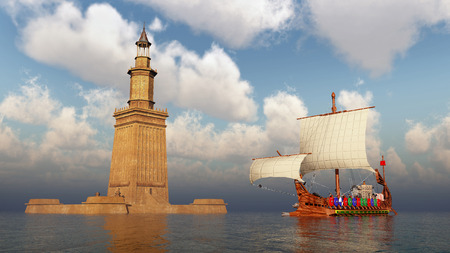 Lighthouse of Alexandria and ancient Roman warship