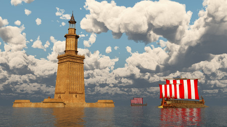 Lighthouse of Alexandria and ancient Greek warships