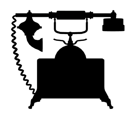 Silhouette of a vintage telephone Stock Photo