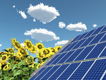 Pannello solare e girasoli Archivio Fotografico - 91595525