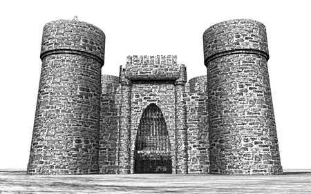 Medieval castle against a white background Stock fotó - 91595539