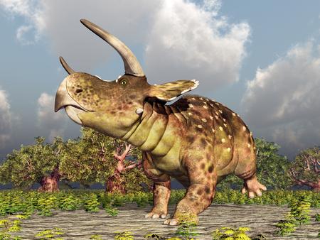 Dinosaur Nasutoceratops Stock Photo