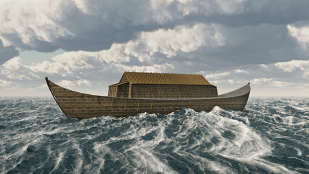 The Ark of Noah in the stormy ocean Фото со стока