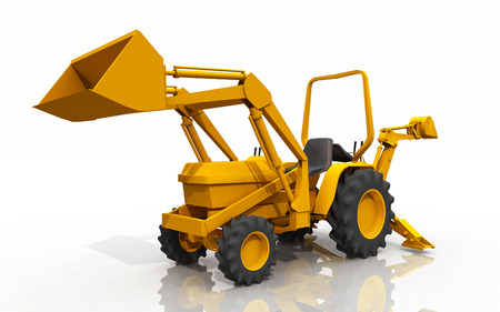 Compact tractor, front loader and backhoe Stock Photo