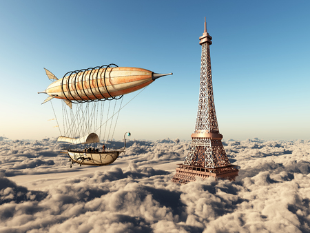 Fantasy airship and Eiffel Tower over the clouds