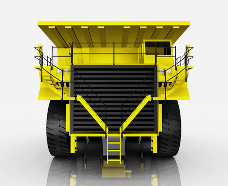Front view of a yellow dump truck against a white background