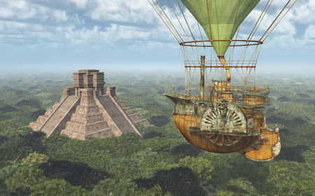 Mayan pyramid and fantasy hot air balloon