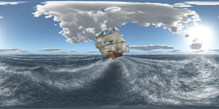 Spherical 360 degrees seamless panorama with the HMS Victory Stock Photo